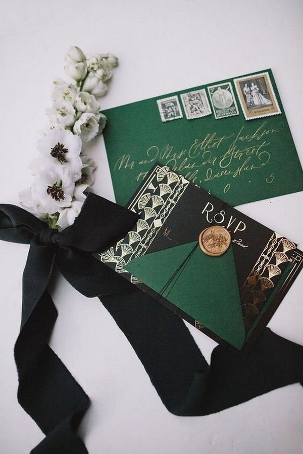 vintage emerald green and black wedding invitations