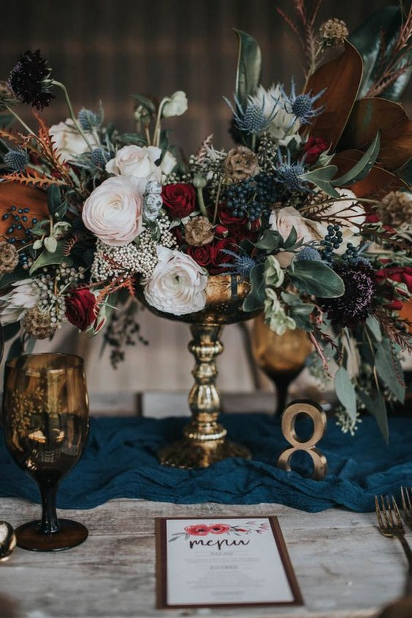 vintage fall floral wedding centerpiece ideas
