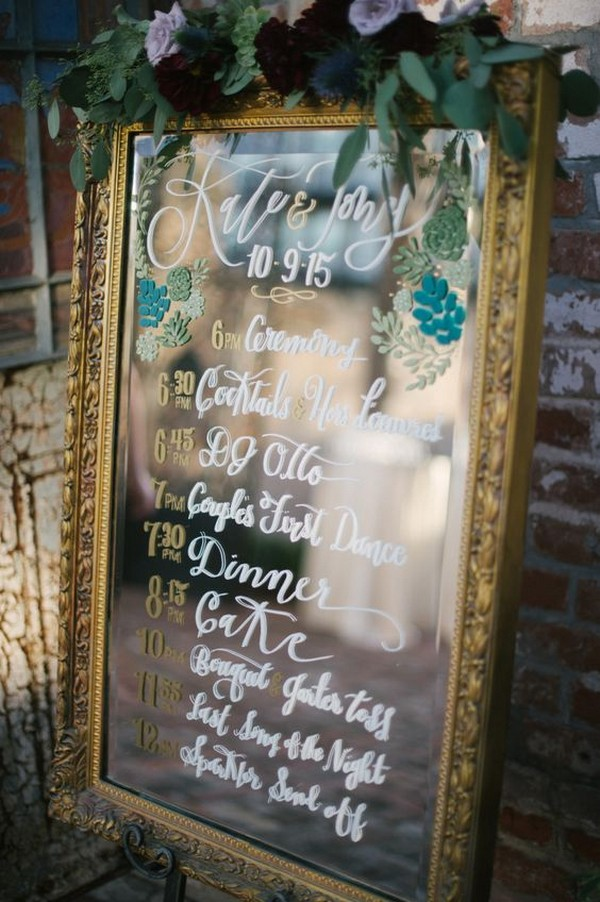 vintage mirror wedding day timeline sign