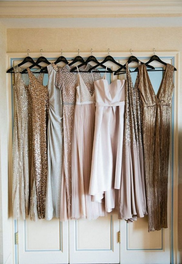 vintage mismatched sequins briesmaid dresses