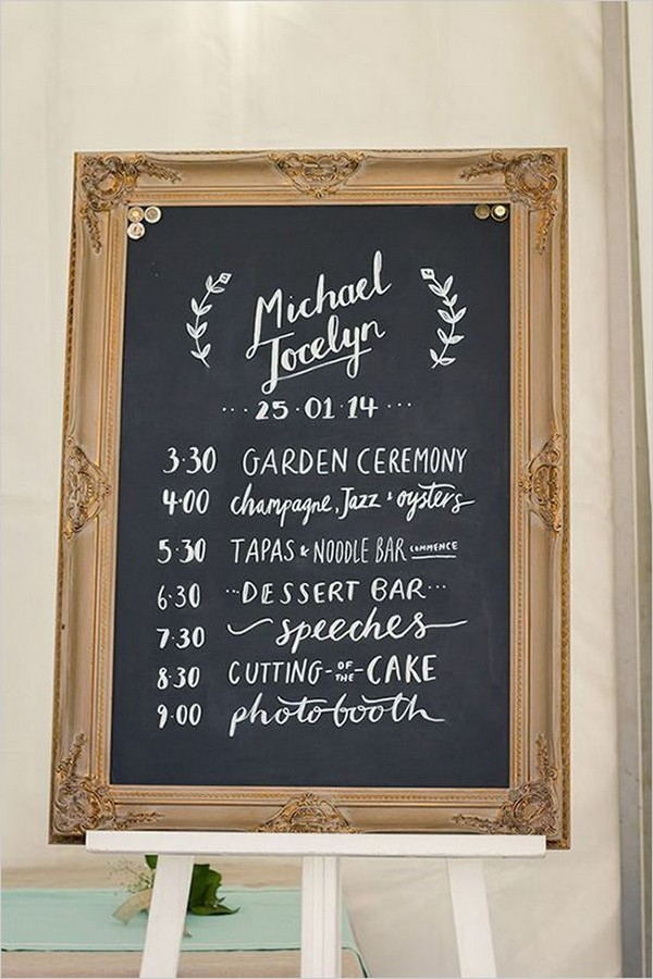 vintage wedding day timeline sign ideas