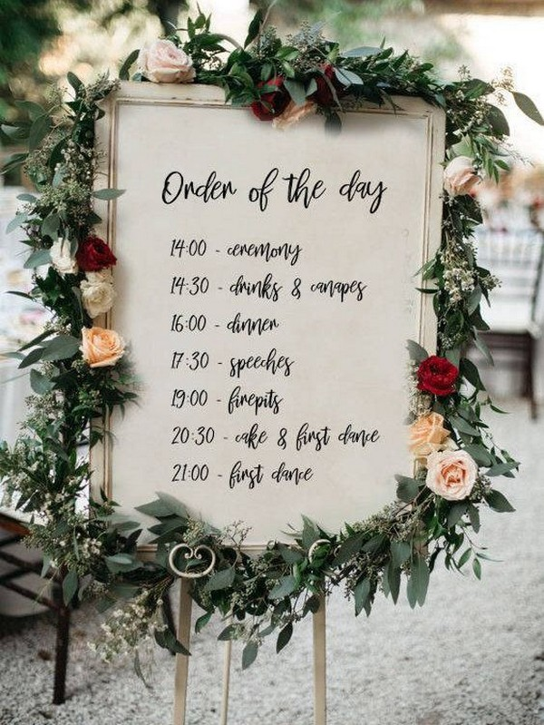 vintage wedding day timeline sign with floral
