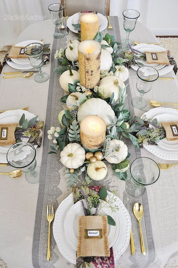 wedding centerpiece with pumkins for fall