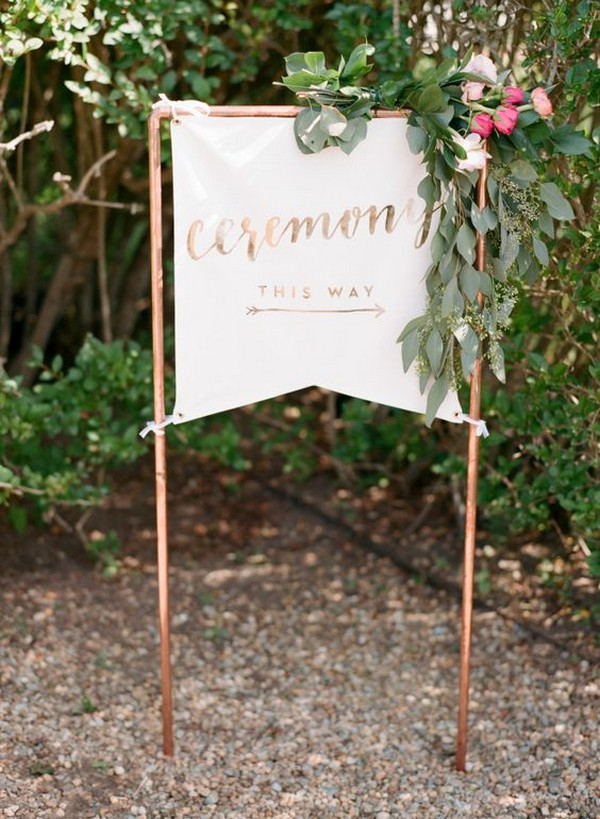 wedding ceremony sign ideas with copper pipe