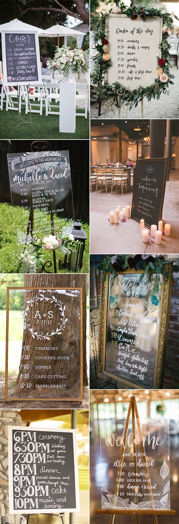 wedding sign ideas with timeline of the day