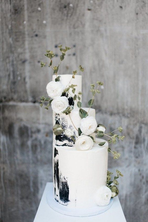 white black and greenery modern wedding cake ideas