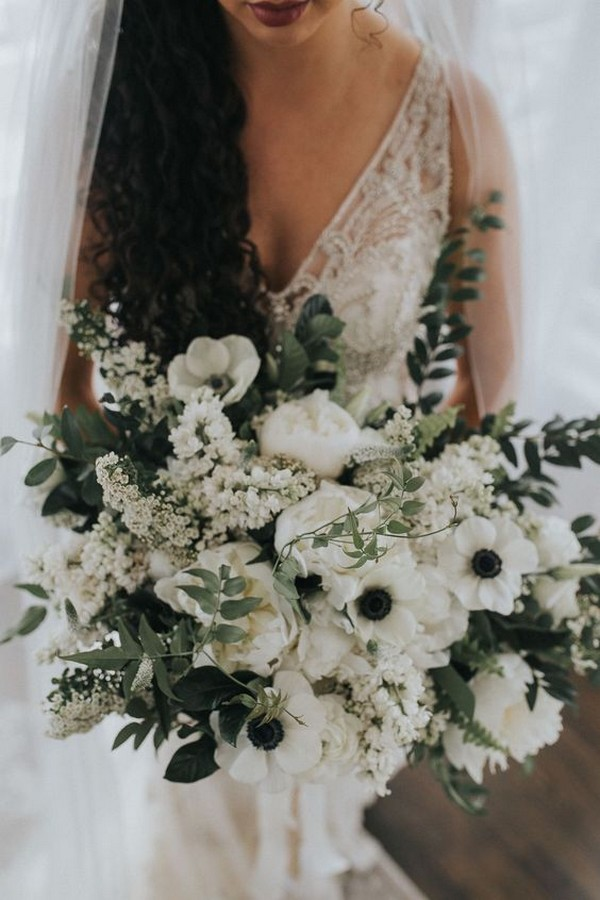 white black and greenery wedding bouquet