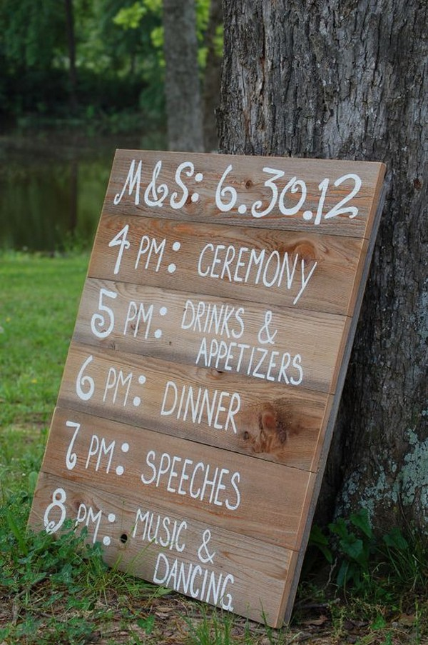 wood pallets rustic wedding timeline sign ideas