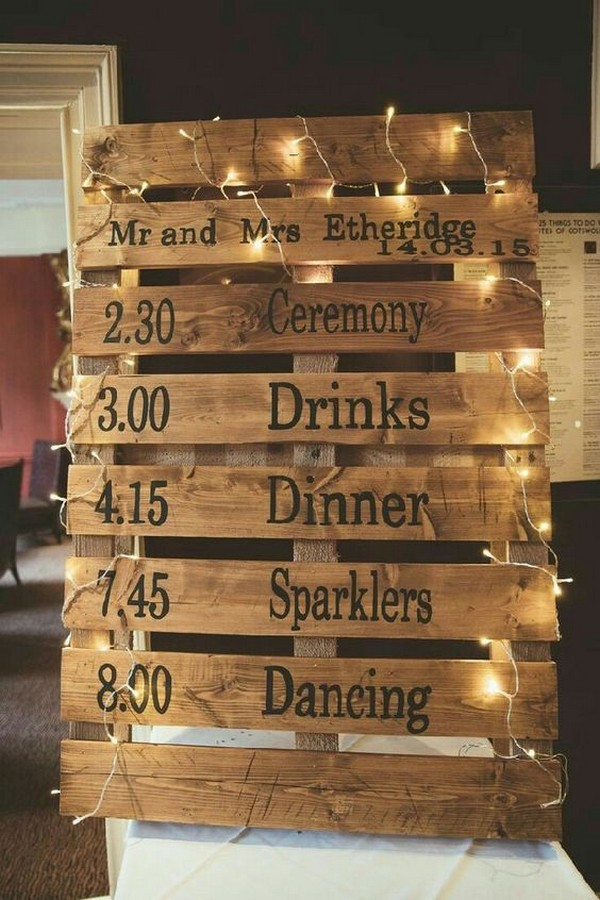 wooden pallet country wedding sign decoration ideas with lights