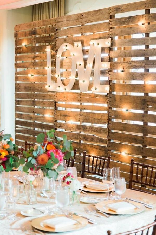 wooden pallets DIY country wedding backdrop ideas