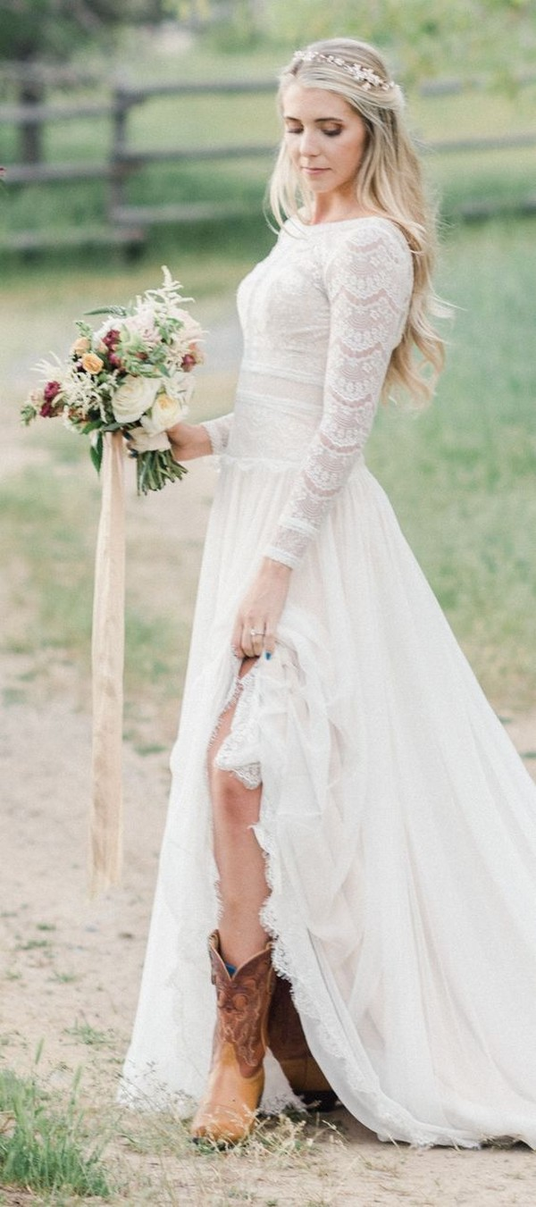 Maggie Sottero lace wedding dress with long sleeves