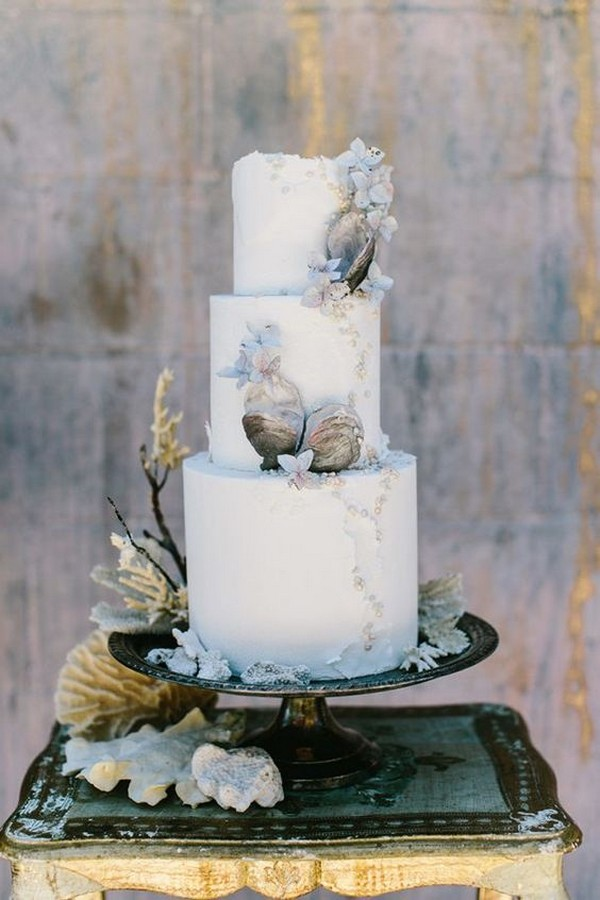 Oceanic textures beach wedding cake