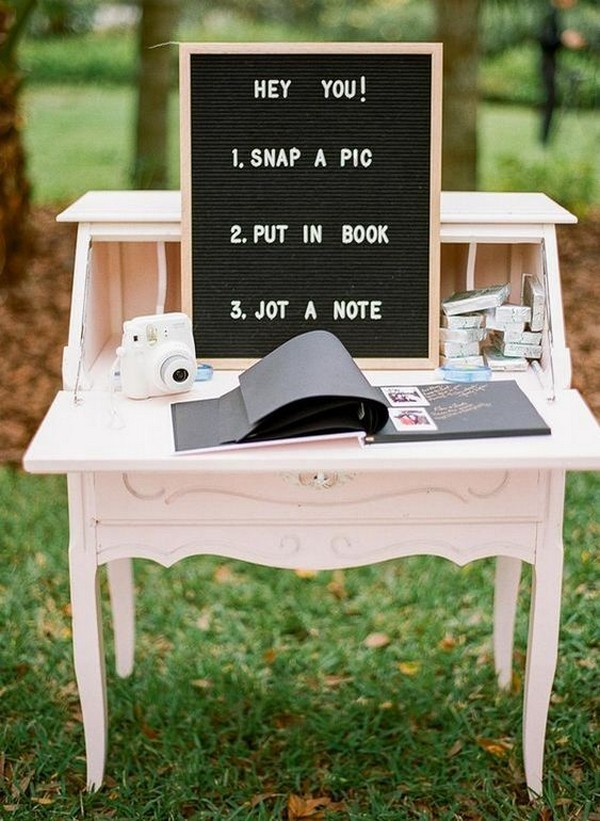 Polaroid wedding guest book sign in table decoration ideas