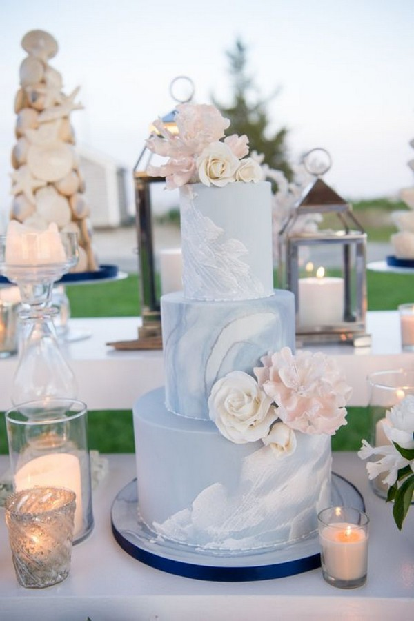 baby blue and blush summer wedding cake