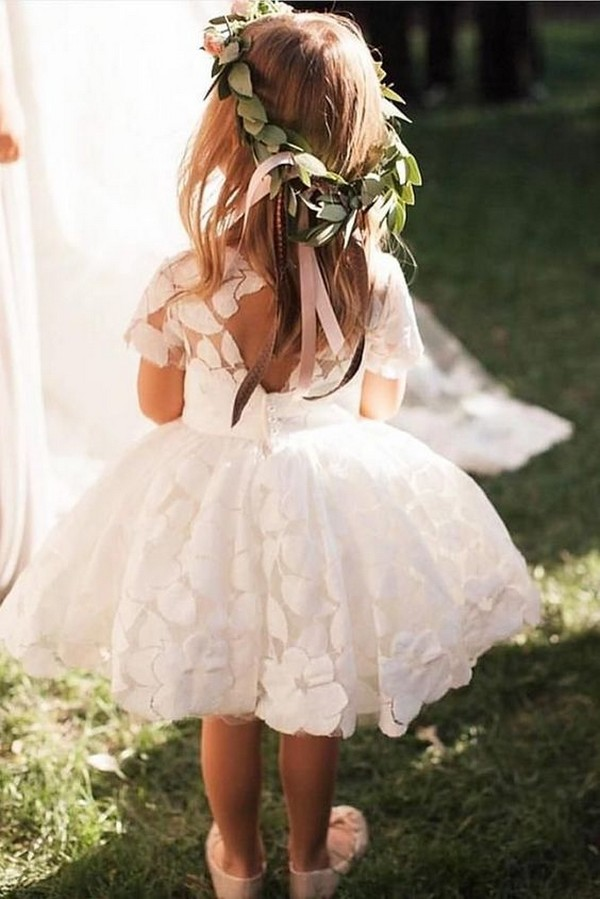 ball gown cute flower dress with open back