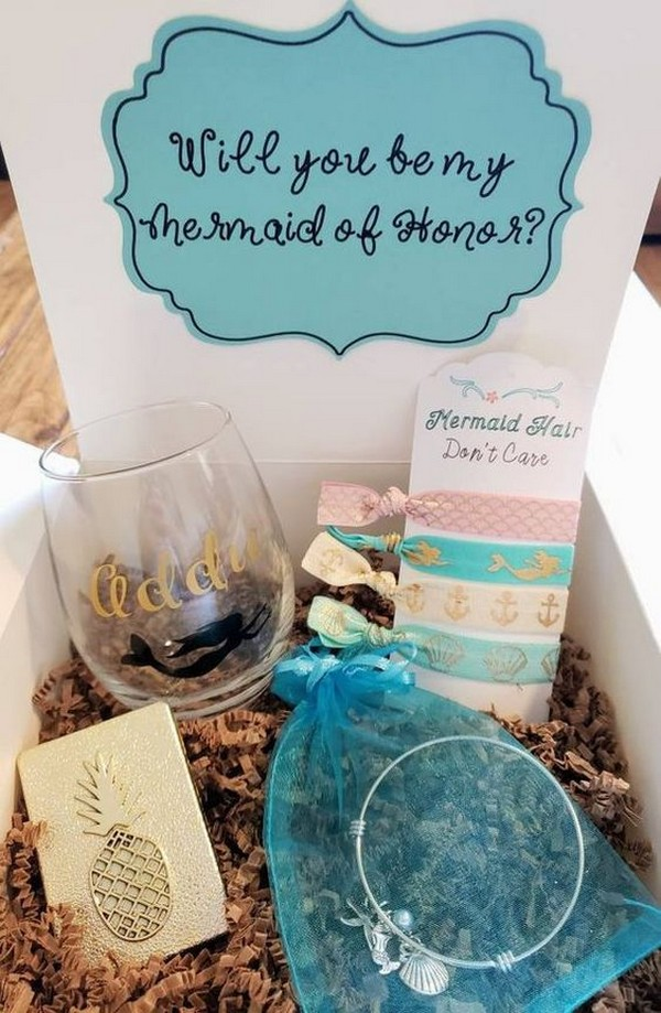beach themed maid of honor box ideas