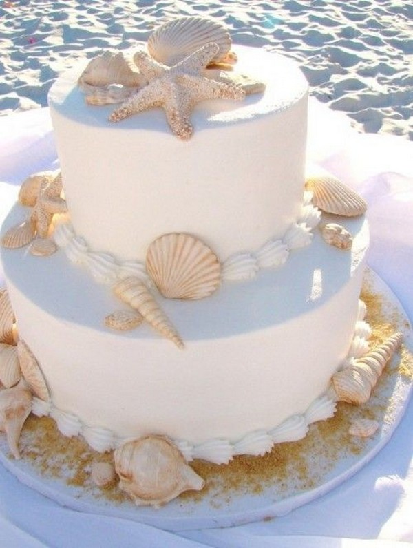 beach wedding cake with sea stars and shells