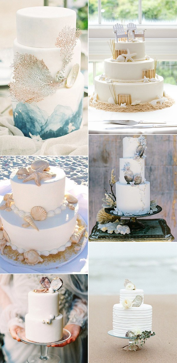beach wedding cakes with sea shells for summer weddings