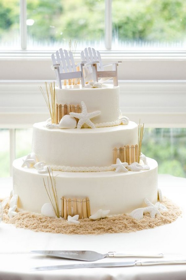 beachside summer wedding cake