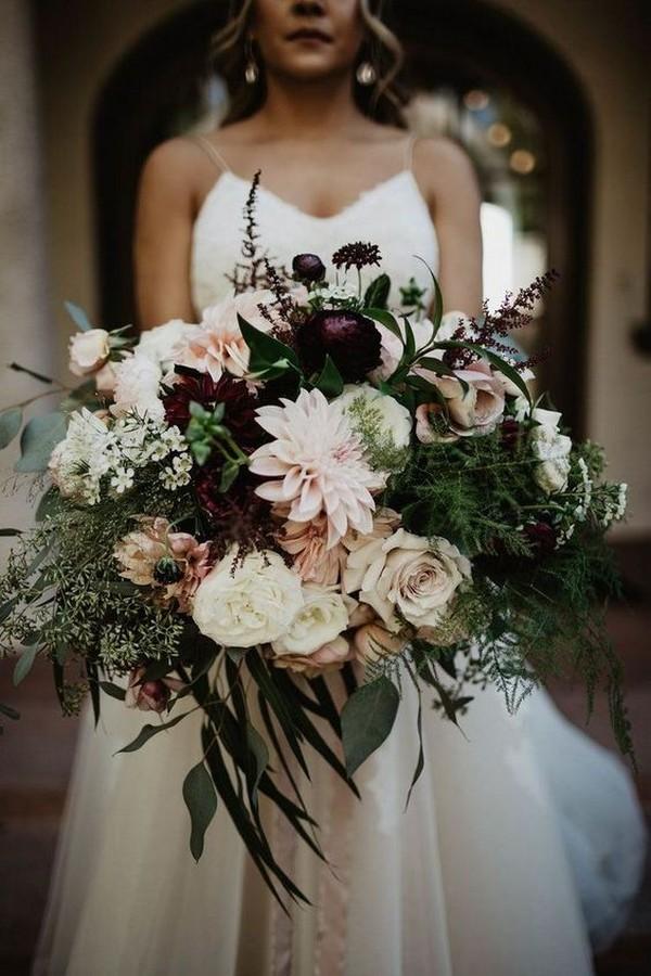 blush and burgundy fall wedding bouquet