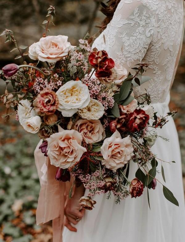 blush and burgundy garden roses wedding bouquet
