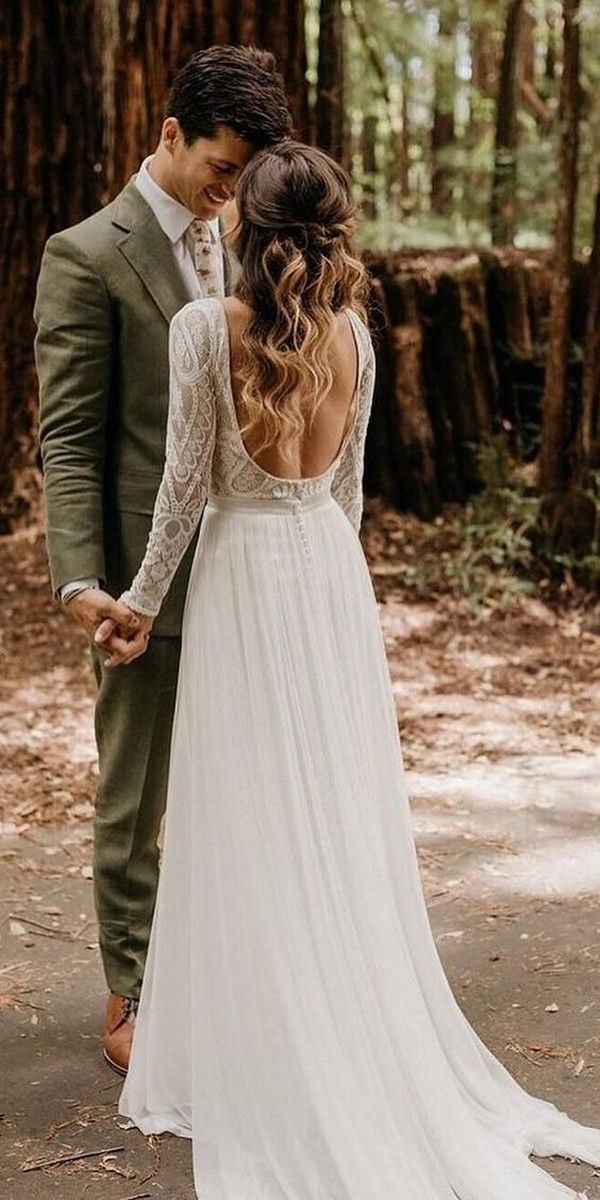 boho chic wedding dress with open back