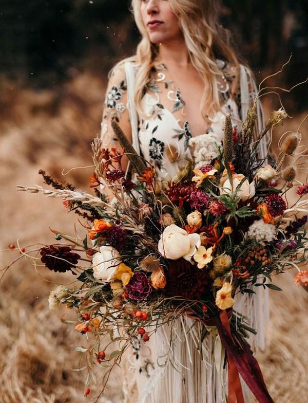 boho fall wedding flower bouquet ideas