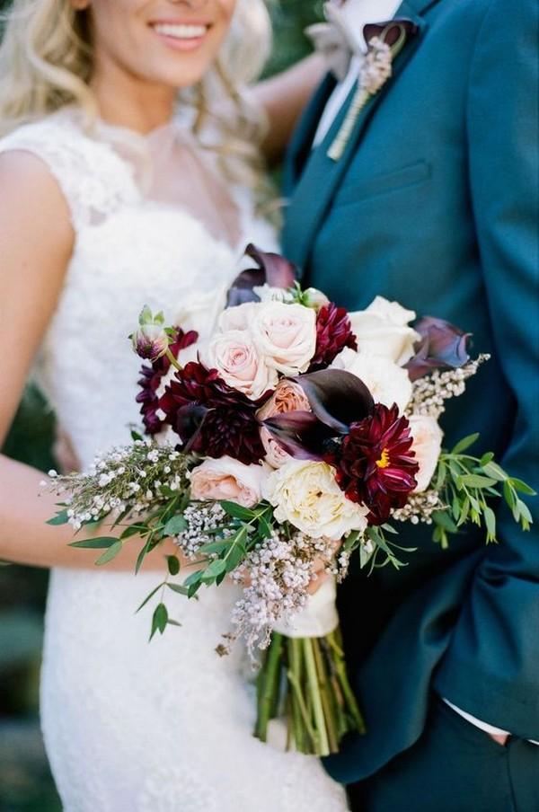 burgundy and blush fall wedding flowers