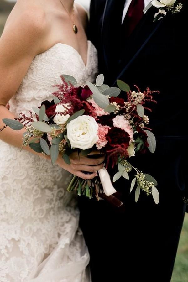 burgundy blush and sage green fall wedding bouquet