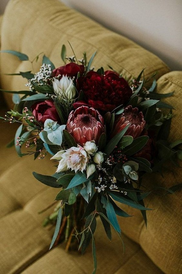 burgundy proteas and greenery eucalyptus fall wedding flower bouquet