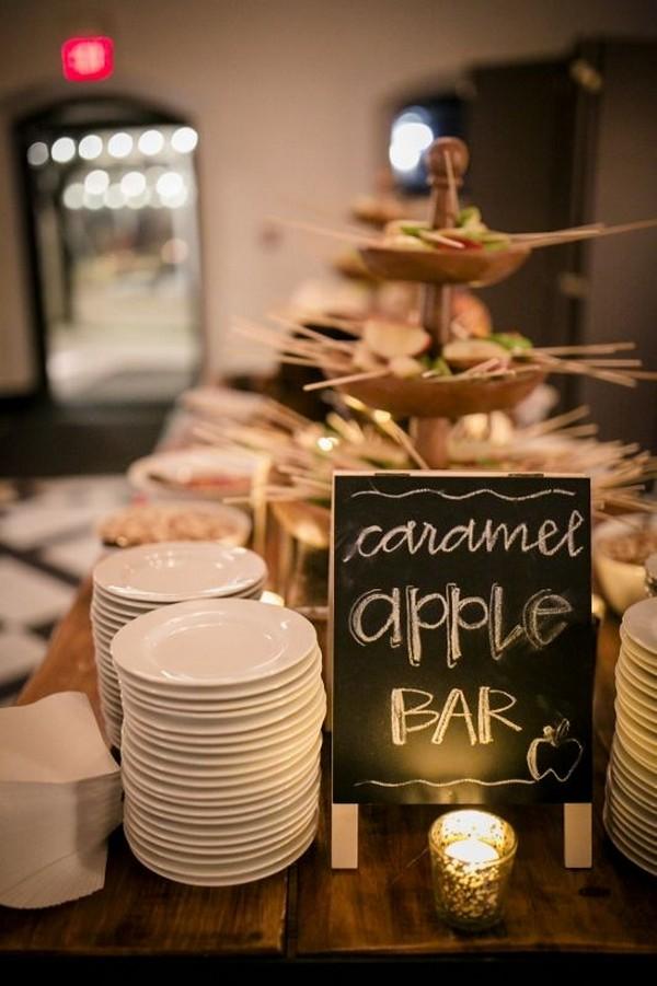 caramel apple bar fall wedding food ideas