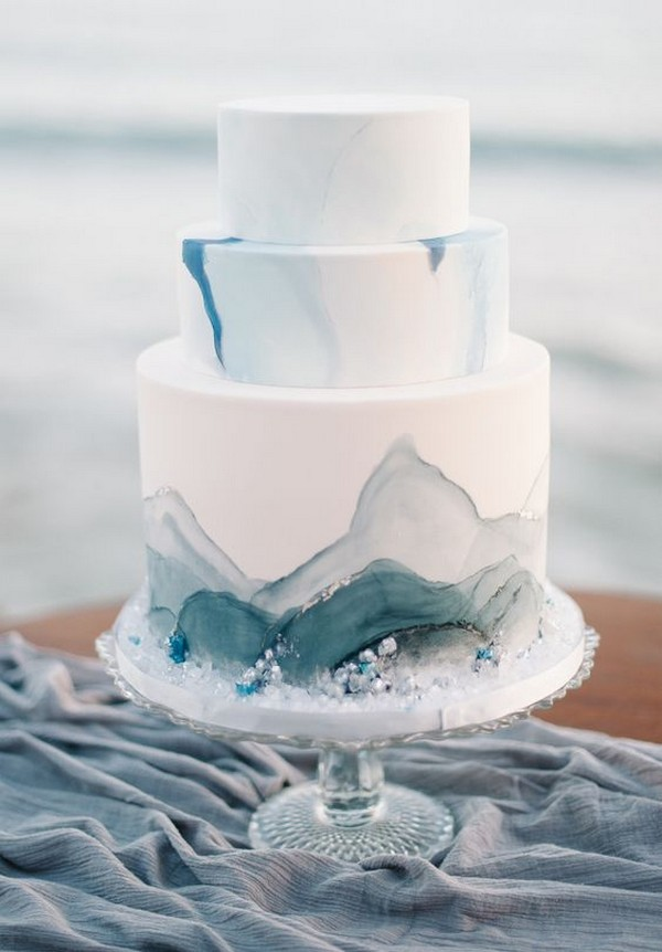 chic simple white and blue beach wedding cake