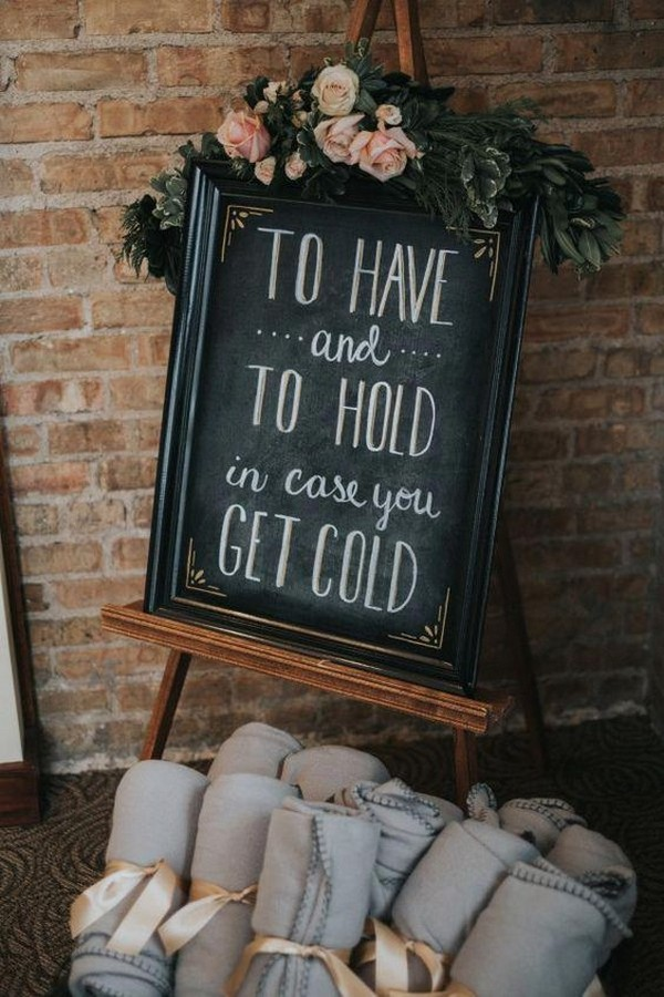 chic wedding favor signs and gray blankets