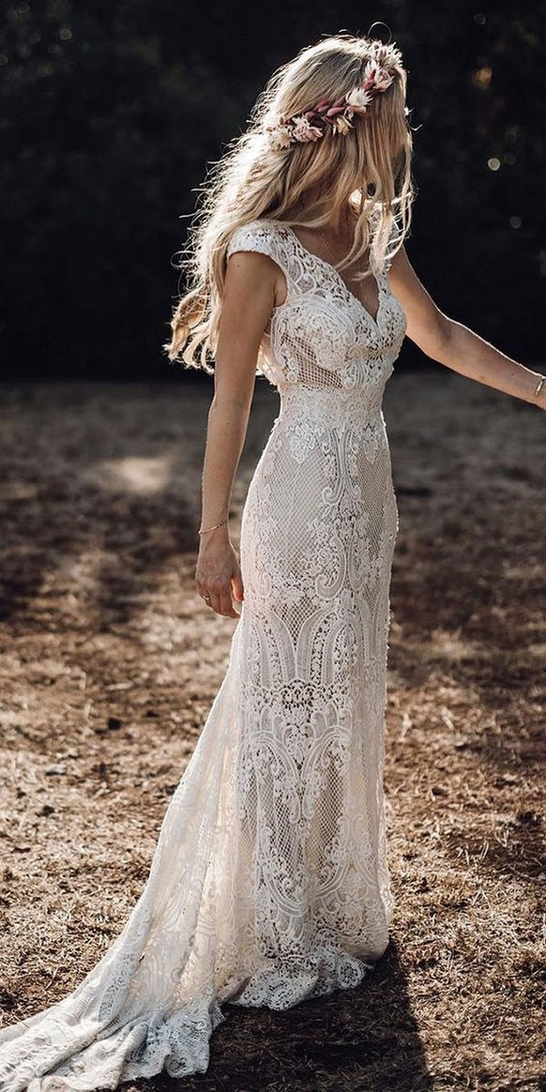 country lace v neck wedding dress