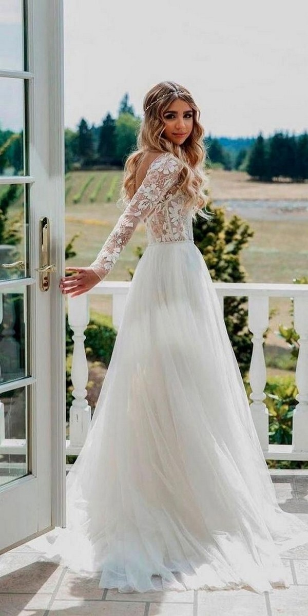 country wedding dress with long lace sleeves