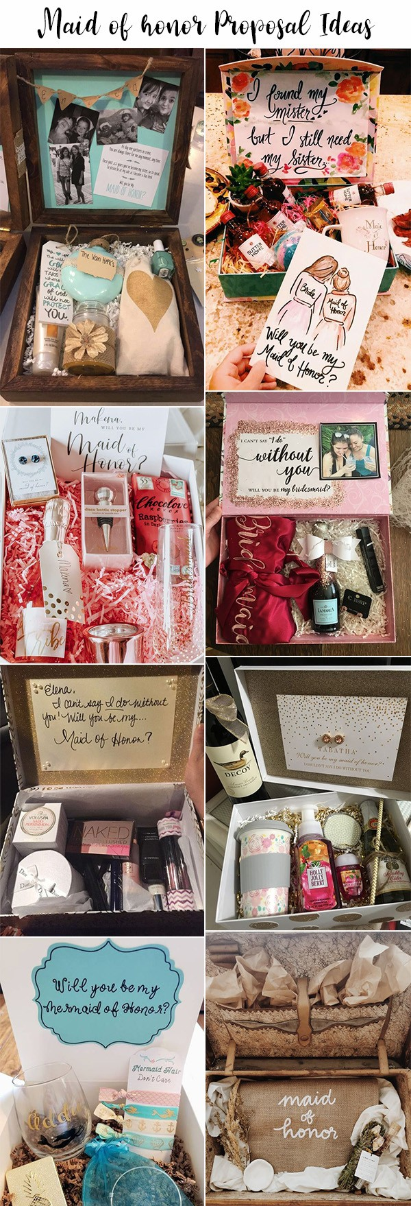 creative maid of honor proposal gift box ideas