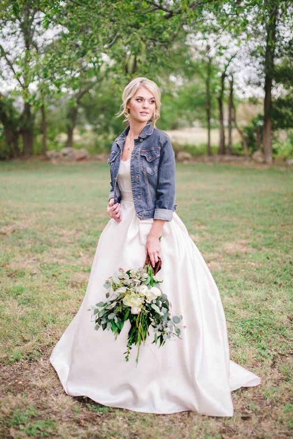 cute country wedding dress with cowboy jacket