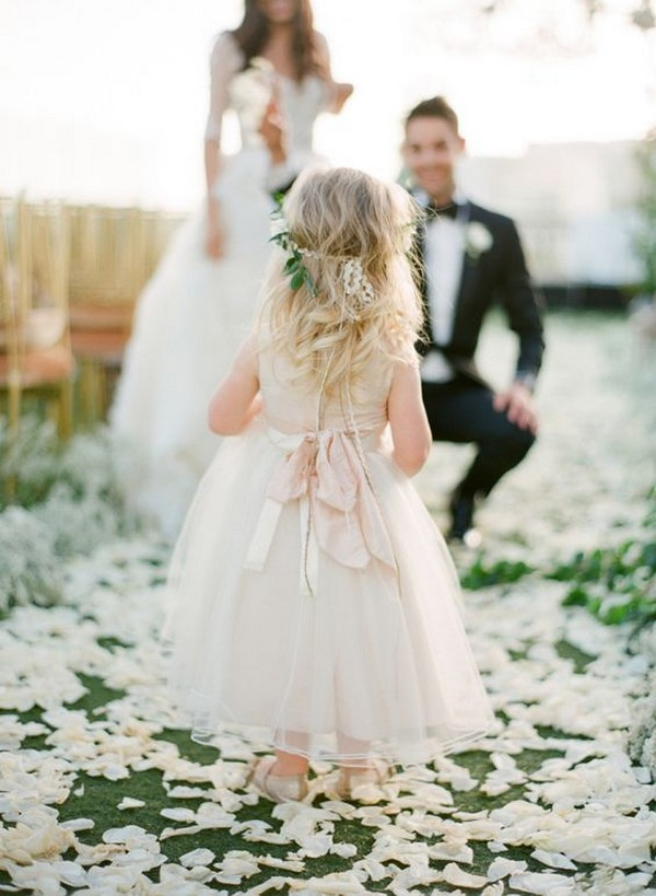 cute flower girl dress with blush bow