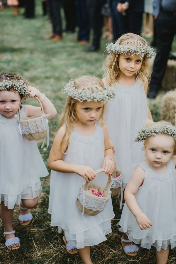 cute flower girl dresses with baby's breath