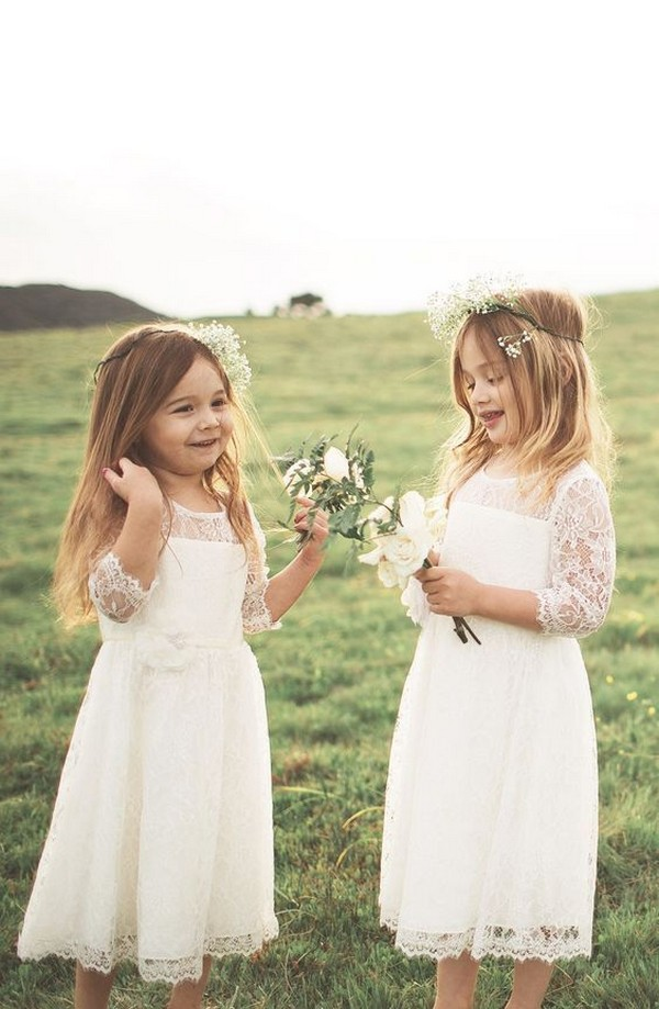 cute flower girl dresses with lace sleeves