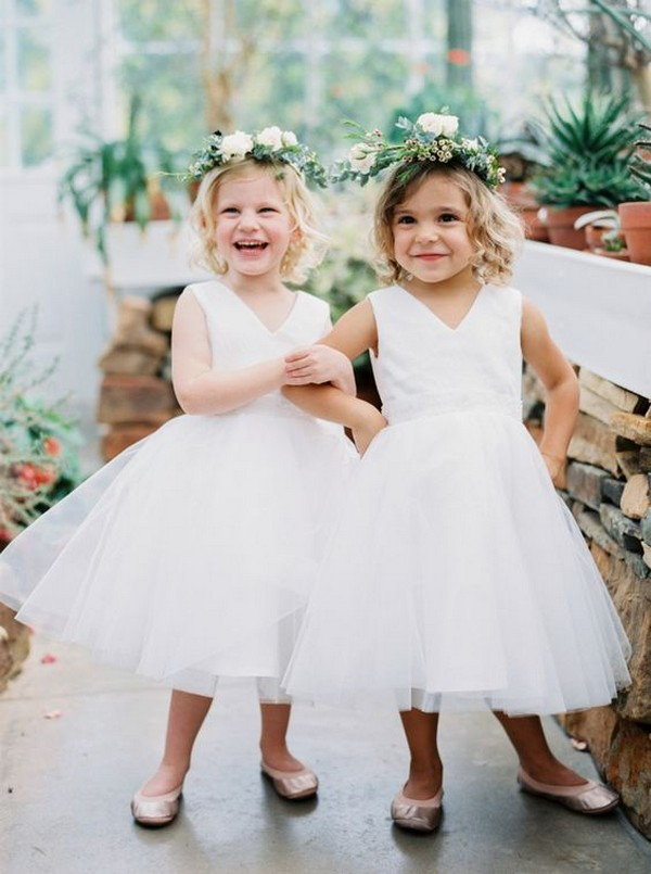 cute v neck flower girl dresses