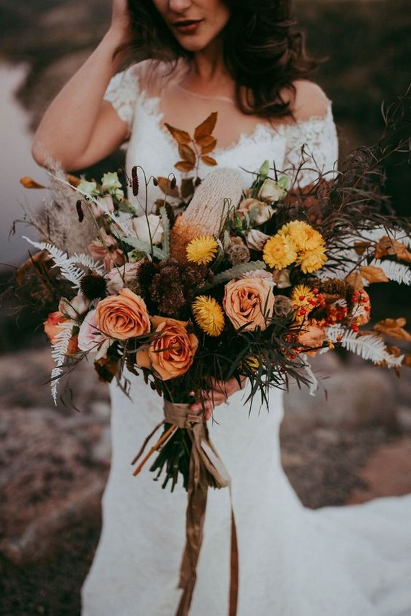 dark orange roses and yellow flowers fall wedding bouquet