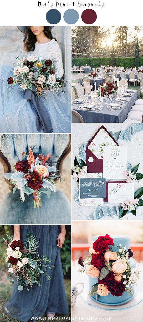 dusty blue and burgundy fall wedding color ideas