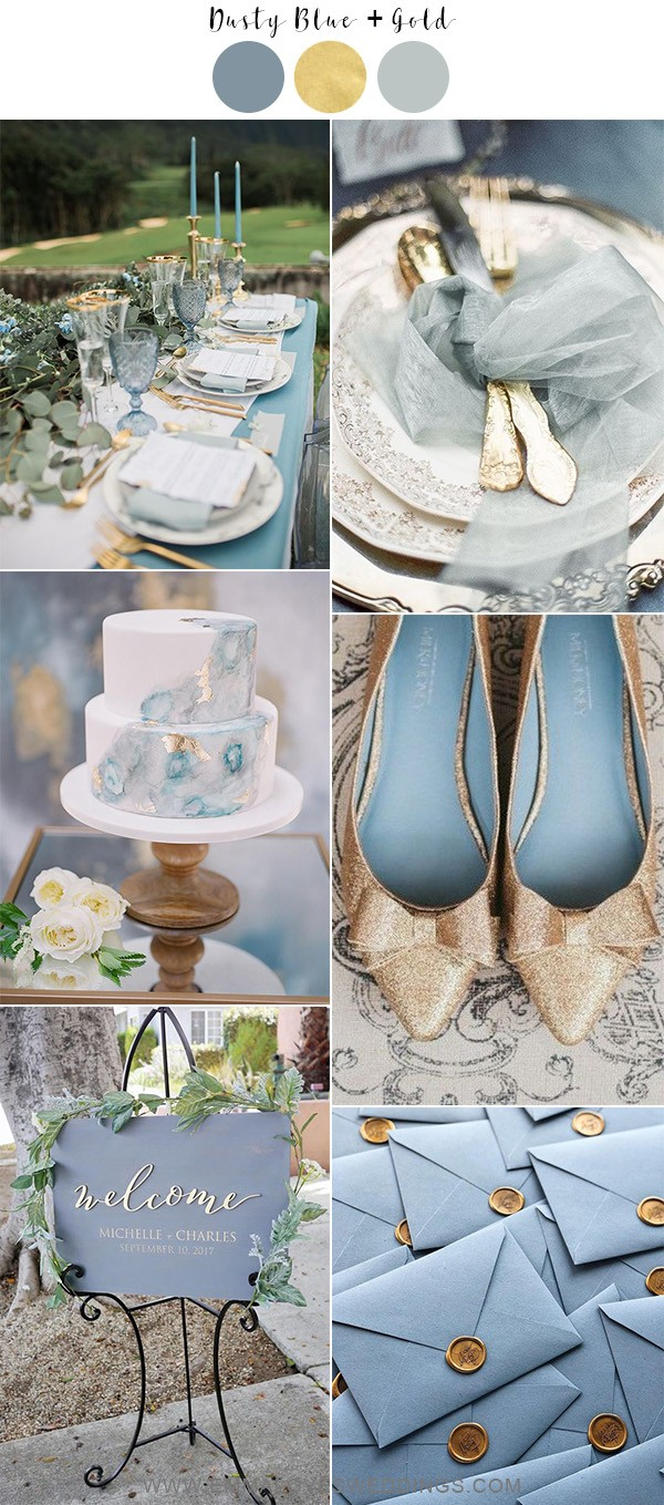 dusty blue and gold wedding color ideas for 2019