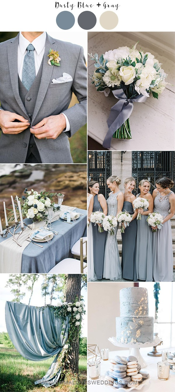 dusty blue and gray neutral wedding color ideas