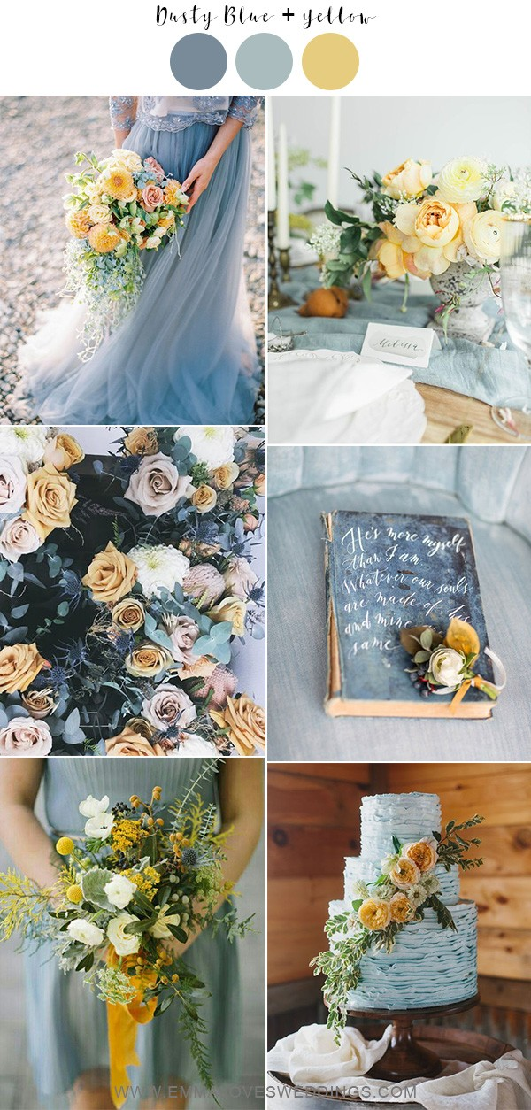 dusty blue and yellow wedding color ideas