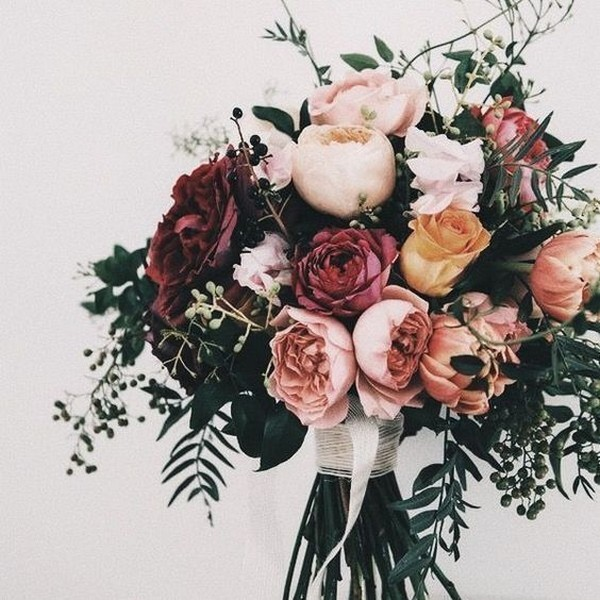 dusty pinks romantic fall wedding flowers