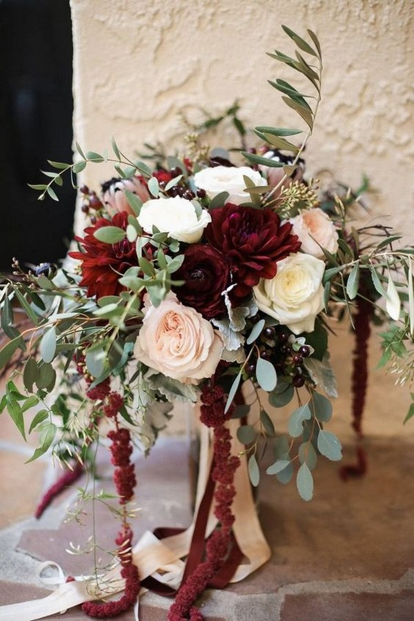 fall burgundy flowers and seeded eucalyptus wedding bouquet