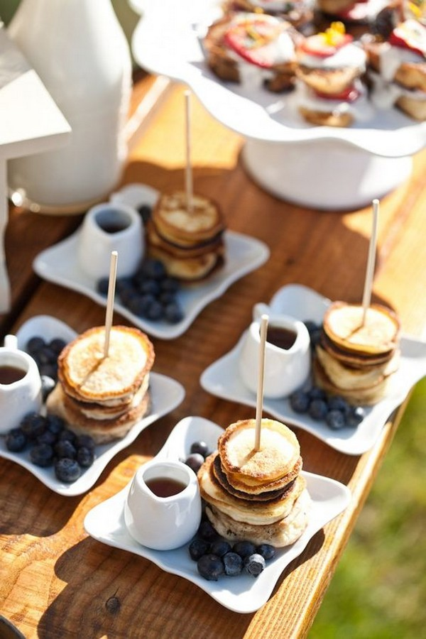 fall wedding food pancakes and fresh blueberries buffet