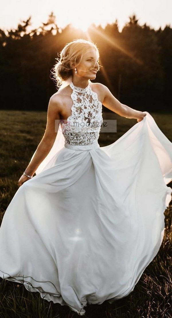 halter neckline country wedding dress